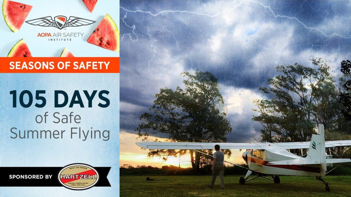 Graphic with Text: 105 Days of Summer Safe Summer Flying with ASI and Hartzell Propeller