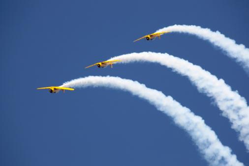 Harvard aircraft flying in formation