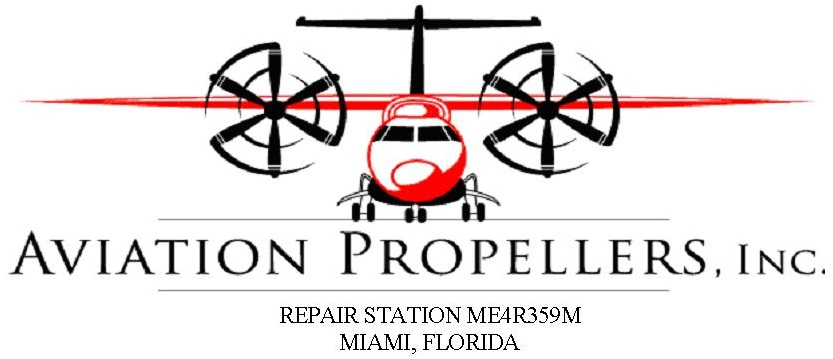 Aviation Propellers, Inc. Logo with red airplane and text: Aviation Propellers, Inc. Repair Station ME4R359M Miami, Florida