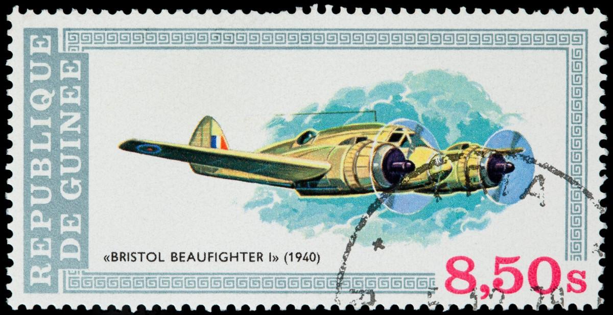 GUINEA - CIRCA 1979: A stamp printed in Republic of Guinea shows plane Bristol Beaufighter I, 1940, circa 1979