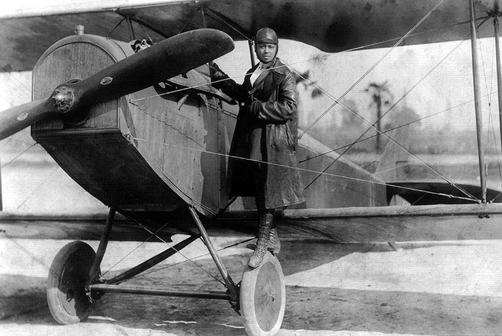Black and white photograph of pilot Bessie Coleman