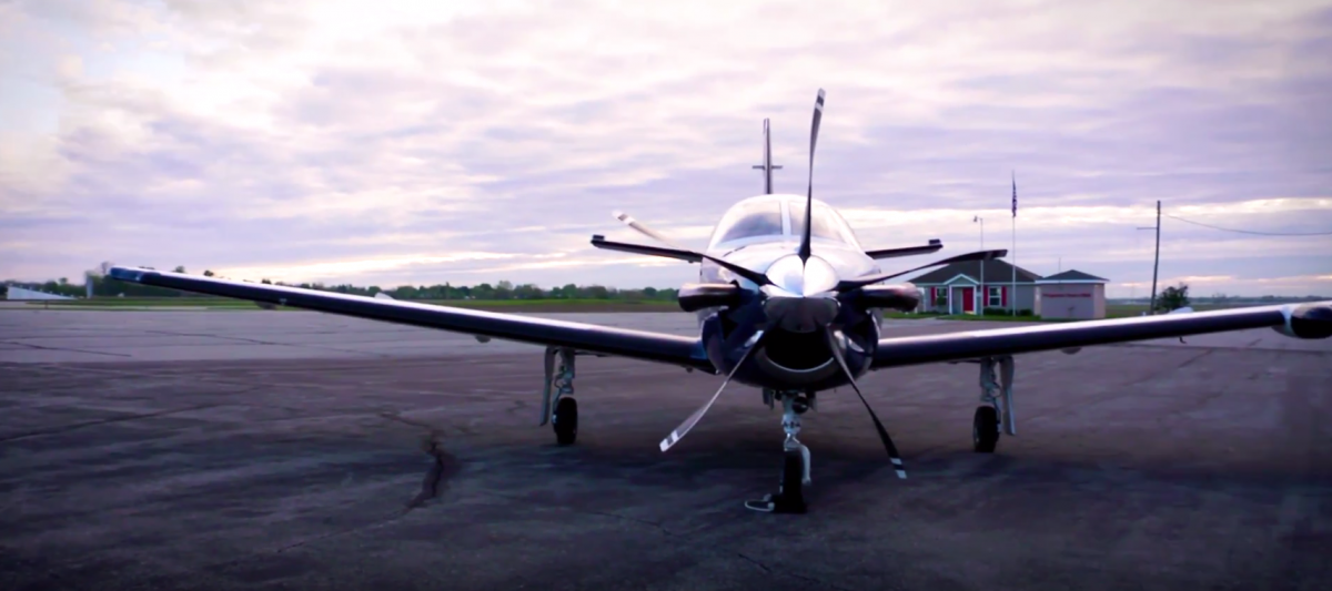Front view of TBM aircraft