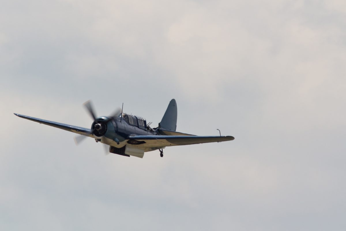 SB2C Curtiss Helldiver plane in flight