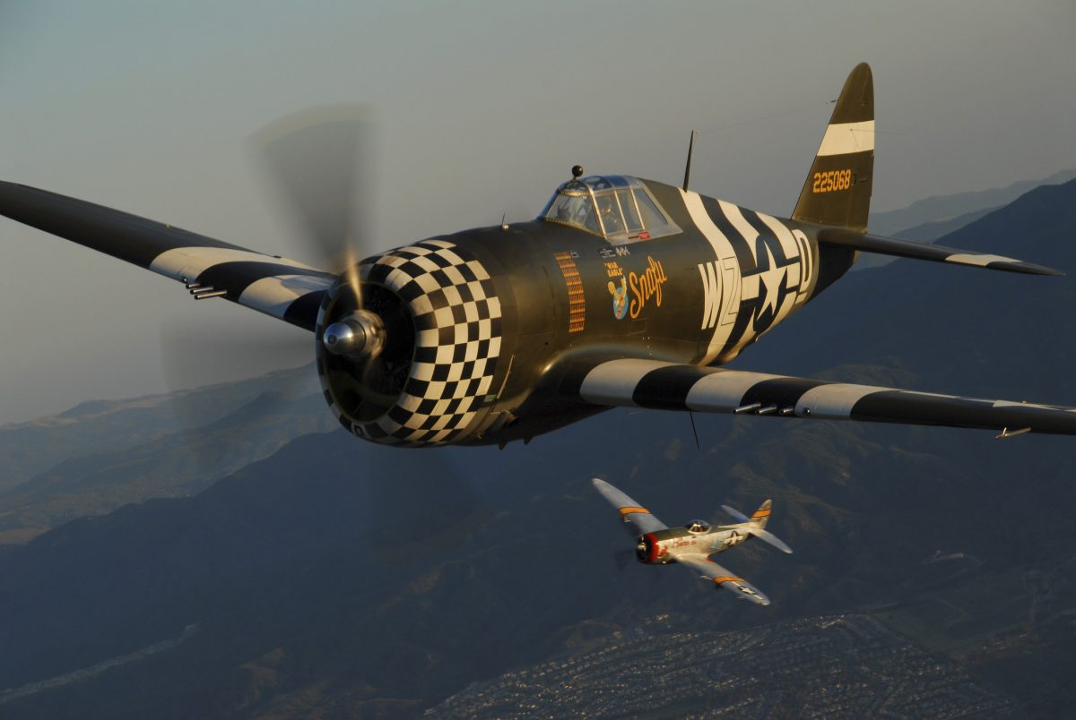 Republic P-47 Thunderbolts flying over Chino, California.