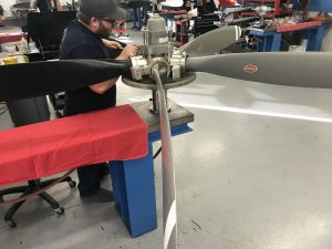 Hartzell propeller in prop shop at Intercontinental Jet Service Corps