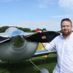Pilot poses with his Hartzell aircraft propeller