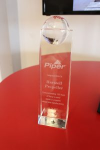 Plaque from Piper Aircraft to commemorate Hartzell Propeller's 100th anniverary