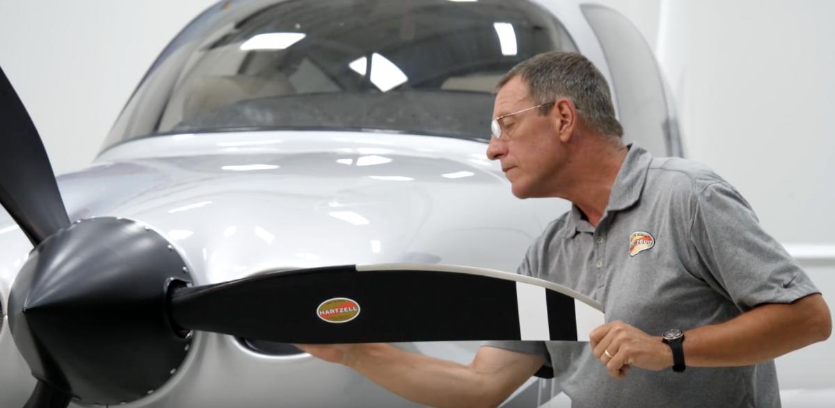Hartzell service technician inspects a composite aircraft propeller