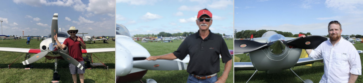 Three images of pilots posing by their Hartzell Top Prop propellers on aircraft