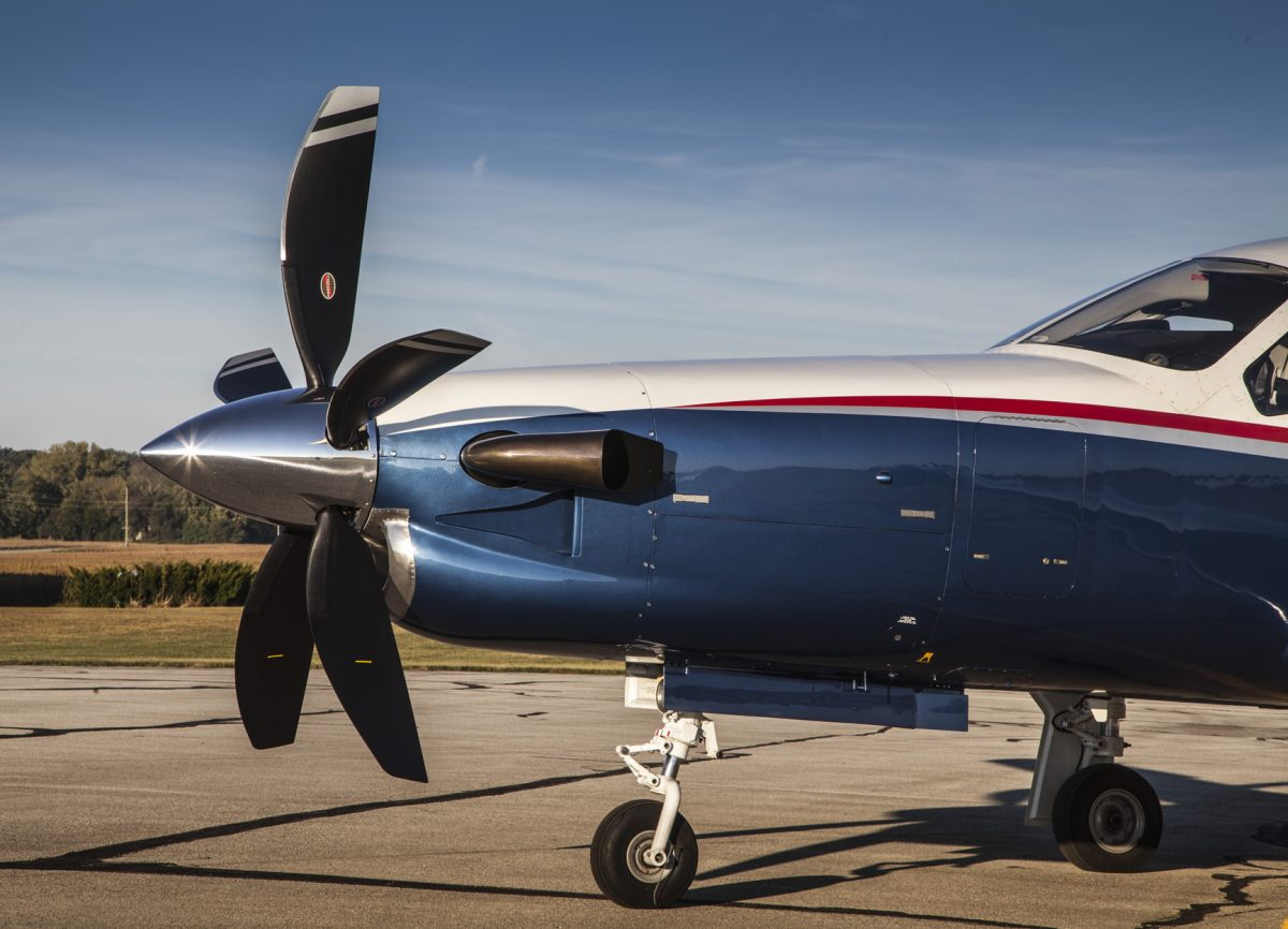Side view of TBM aircraft with 5-blade Hartzell propeller