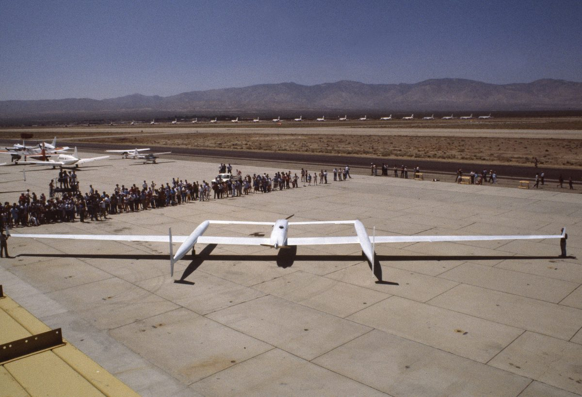 Aerial view of Rutan Voyager aircraft at anniversary celebration