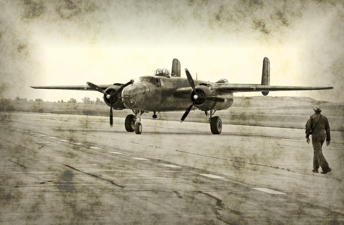 World War II airplane and pilot