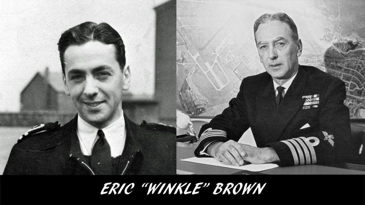 Black and white photographs of pilot Eric Winkle Brown