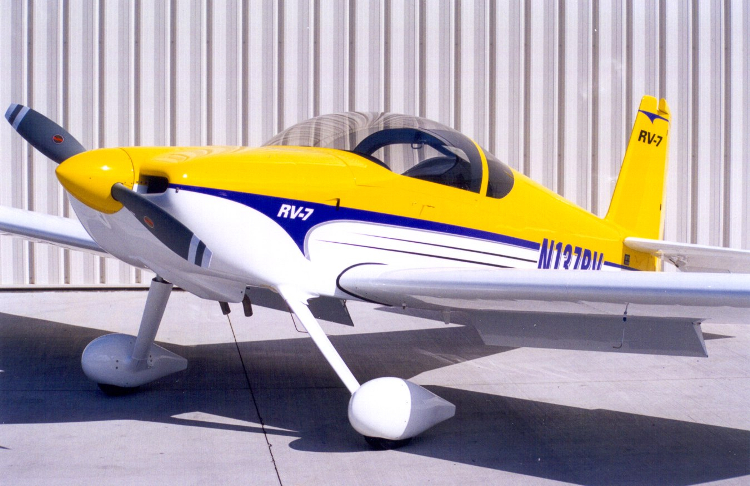 Yellow, white, and purple RV-7 kitplane