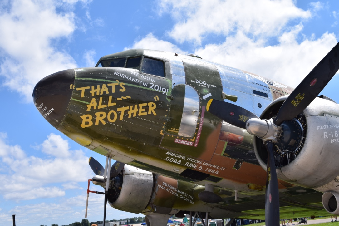 Front view of C-47 aircraft That's All Brother at Oshkosh 2017