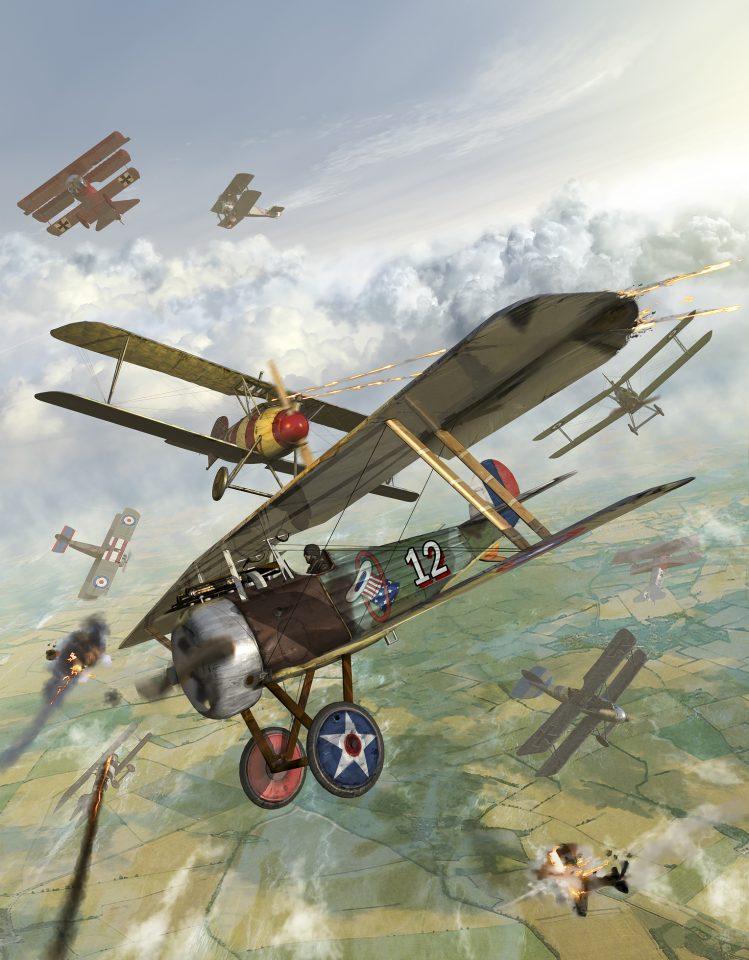 World War I U.S. bi-plane attacking German bi-planes.
