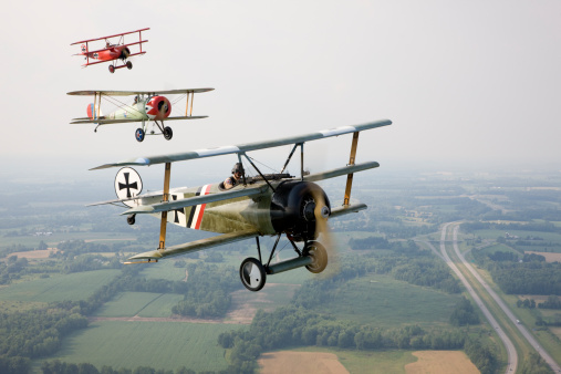 World war I aircraft flying in formation